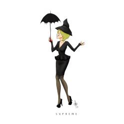 fiona with umbrella