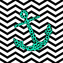 Mint Leopard Chevron Anchor