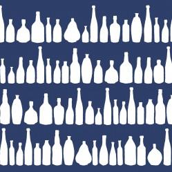 bottleswhiteonnavyprint