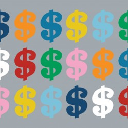 Colourful Money on Grey