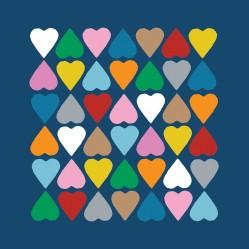 Diamond Hearts on Navy