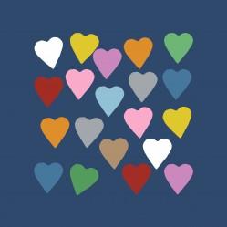 Hearts Colour on Navy