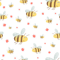 Cute pattern with funny bees and flowers