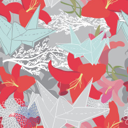 Pattern with paper cranes and flowers